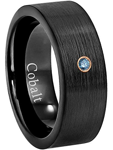 Jewelry Avalanche 8MM Comfort Fit Brushed Black Ion Pipe Cut Men's Cobalt Chrome Wedding Band - 0.07ct Blue Diamond Cobalt Ring - April Birthstone Ring -10.5