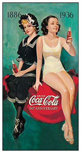 Desperate Enterprises Coca-Cola - 50th Anniversary Bathers Tin Sign, 8.5