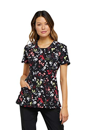Discount Floral Supplies (Cherokee Infinity Women's Round Neck Floral Print Scrub Top Large)