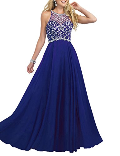 Firose Women's Scoop Neckline Beaded Long Chiffon Prom Dresses for 2017 10 Royal