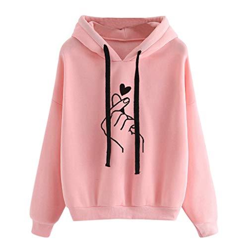 Sunhusing Women's Gesture Love Heart Print Long Sleeve Drawstring Pullover Hoodie Sweatshirt Top Pink
