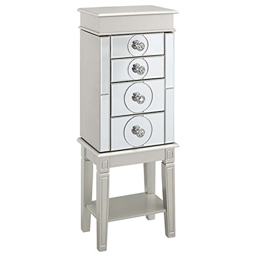 Linon Madison Jewelry Armoire in Silver by Linon