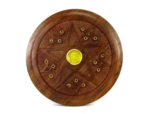 UPC 696734832187, Wooden Pentacle Incense Cone and Incense Stick Burner, 5""