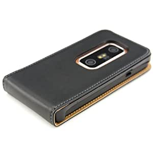 kwmobile Flip style synthetic leather case for HTC Evo 3D with convenient magnetic fastener in black