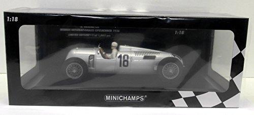 - Minichamps 155361018 1:18 Auto Union Typ C-Bernd Rosemeyer-Winner Internationales Eifelrennen 1936