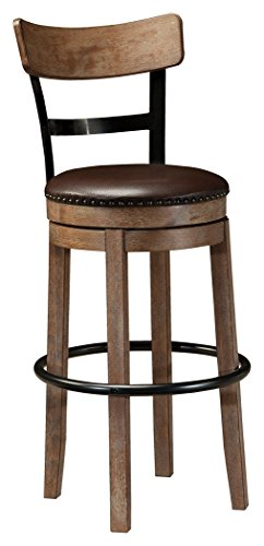 Ashley Furniture Signature Design - Pinnadel Swivel Bar Stool - Pub Height - Light Brown (Design Stool Back Bar)