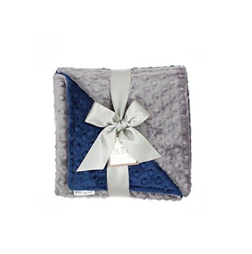 - MEG Original Minky Dot Baby Boy Blanket Navy/Charcoal 374