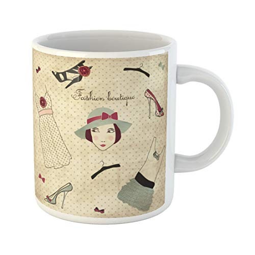 Tinmun 11 Oz Coffee Mug Shoe Vintage Boutique Woman Retro Bow Dress Lady Dot Decor Lover Funny Mug Birthday Gift Coffee Tea Cup Mugs (Side Effects Of Green Tea On Females)