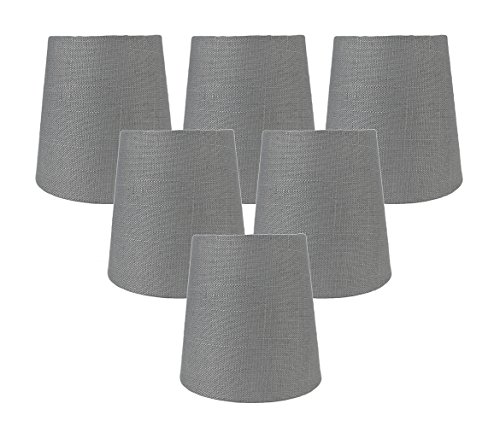 Meriville Set of 6 Graphite Linen Clip On Chandelier Lamp Shades, 3.5-inch by 4.5-inch by 4.5-inch