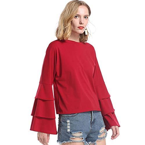 LULIKA Chemise Tee Blouse Longues Chic rtro Rouge Boutons Longue Manches Shirt Robe Tonsi HBrxHqwAg