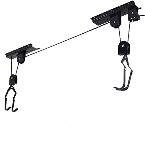 Bike Bicycle Lift Ceiling Mounted Hoist Storage Garage Hanger Pulley Rack New by Unknown