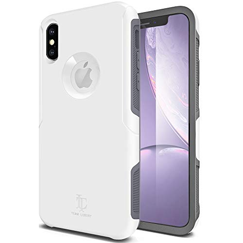 TEAM LUXURY iPhone X Case/iPhone Xs Case, [Defense-x Series] Dura Layer Shock Absorbing Technology Protective Phone Case - for Apple iPhone X/Xs 5.8 Inch (White/Gray)
