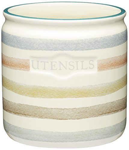 KitchenCraft Classic Collection Striped Ceramic Kitchen Utensil Holder - Cream