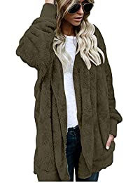 Yacun Women Fuzzy Cardigan Open Front Hooded Jacket Coat Outwear