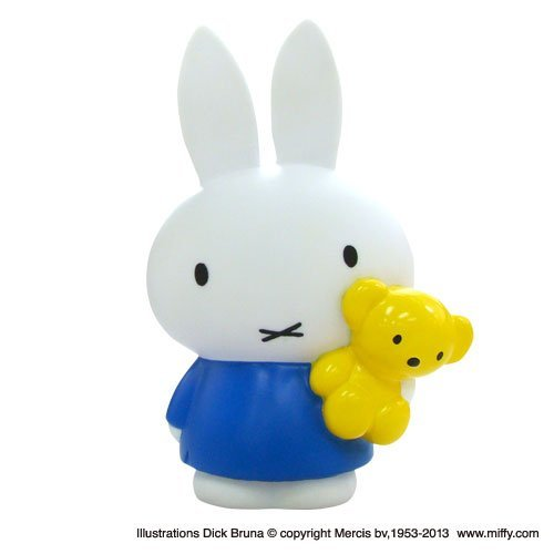 And holding a teddy bear, piggy bank Miffy miffy (blue) MF-8199 (japan import)