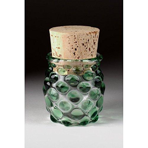 Blown Glass Large Polka Dot Jar - Green (Glass Jar Blown Hand)