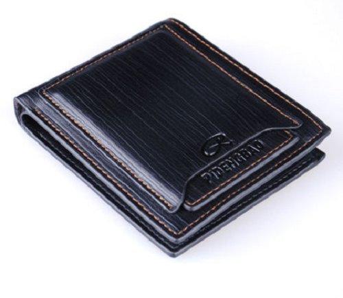 New Men's Leather Bifold ID Credit Card Holder Wallet Purse Clutch Handbag - Black