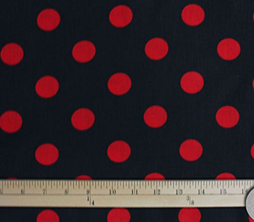 Polycotton Fabric Printed Polka DOTS RED - Black Background / 60