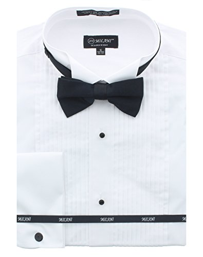 (Milani Men's Tuxedo Shirt with French Cuffs and Bow Tie 14.5