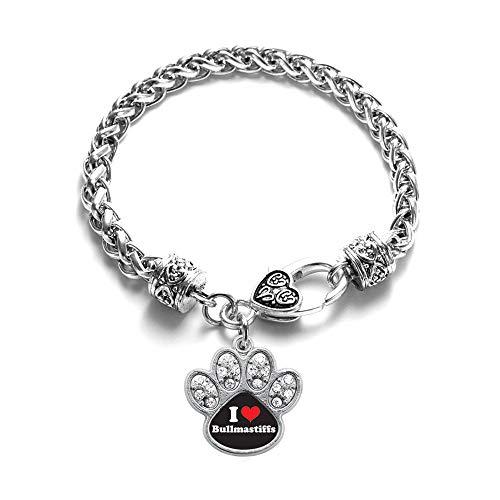 Inspired Silver - I Love Bullmastiffs Braided Bracelet for Women - Silver Pave Paw Charm Bracelet with Cubic Zirconia Jewelry