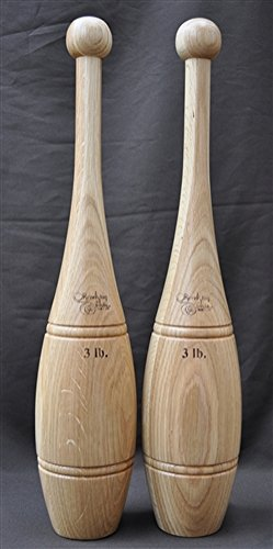 Indian Clubs - Oak 3 Pound Pair with Training DVD