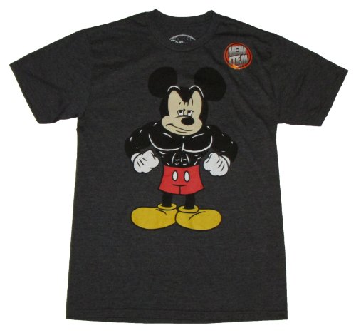 Disney Buff Muscle Mickey Mouse Licensed Graphic T-Shirt, Grey, Large