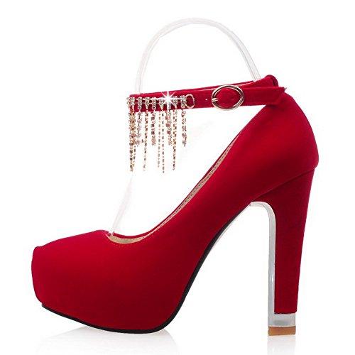 VogueZone009 Damen Feste Geschlossene Runde Heels Frosted Pumps Schnalle Zehe Schuhe High Rot FFpqrnd