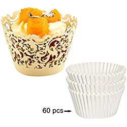 DIYxin 60Pcs Lace Cupcake Wrappers+ 60Pcs White Cupcake Liners for Wedding, Birthday Party, Ivory