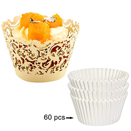 lace cupcake liners ivory - 9
