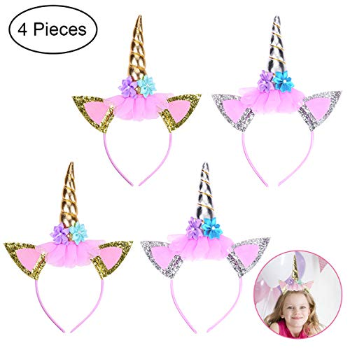 YoungRich 4 PCS Glitter Unicorn Horn Head Bands Shiny Unicorn Horn Ears Headband with Flowers Lovely Fashionable Decorative Handmade for Birthday Party Cosplay Costume Kids Adults Gold Sliver (Lb 0.25 Head)