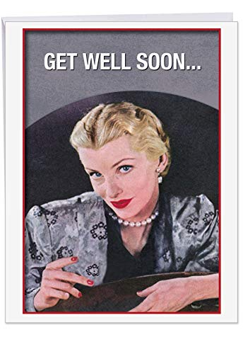 Old Friends New Friends Sick' Big Get Well Card with Envelope (8.5 x 11 Inch) - Vintage Fabulous Girl Design, Expendable at Work, Stationery Set for Personalized Message and Get Well Greeting J9938