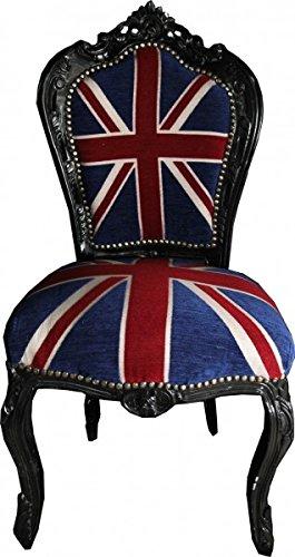 Casa Padrino Barock Esszimmer Stuhl Union Jack Schwarz Möbel Möbel