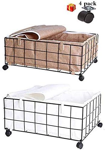 2パック車輪付きの蓋付きのベッド下収納ボックスアイアンアート衣類、靴、衣服、セーター用のベッド下収納コンテナ、58L
