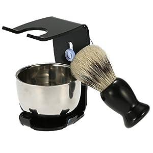 3 In 1 Men's Shaving Razor Set Badger Hair Shaving Brush Stand Razor Holder Male Facial Clean Tools Soap Bowl Cleaning Brush