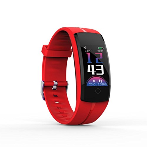 Ounice Smartwatch Fitness Tracker QS100 Calorie Blood Pressure Exercise Heart Rate Pedometer Smart Watch (Red) by Ounice (Image #1)