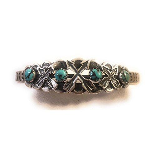 Nizhoni Traders LLC Vintage Turquoise Sterling Silver Navajo Cuff Bracelet Signed by Russell Sam
