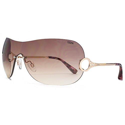 SUUNA Victoria Diamante détail visière lunettes de soleil en or SUU127 Gradient Brown