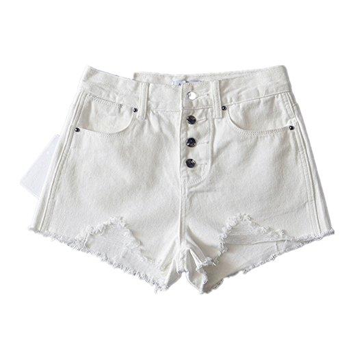 FuweiEncore Femme Shorts Dechir Vintage Sexy Jeans Court Taille Haute Boutonn Blanc