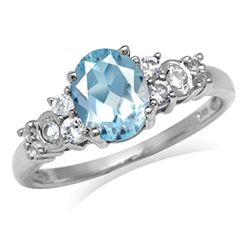 2.17ct. Genuine Blue Topaz White Gold Plated 925 Sterling Silver Engagement Ring Size 8.5 (Ring Engagement Topaz Genuine)