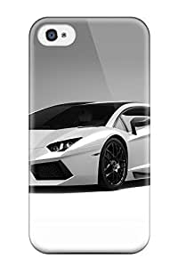 New Snap-on CaseyKBrown Skin Case Cover Compatible With Iphone 4/4s- Lamborghini Aventador White