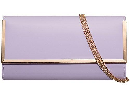 cuir Violet dorée pour Diva's soirée Améthyste Imitation moyenne Hardcase verni pour garniture Haute pour taille femme mariage fête vg0xFq6aw