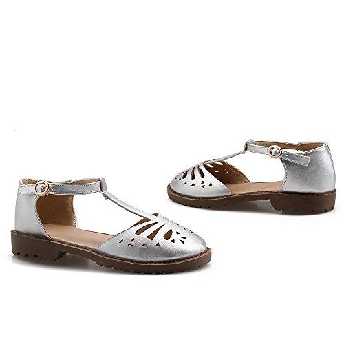 AalarDom sandalias plateadas bajo macizas bajos para PU Hebilla mujer tacón tacones TwRPrnT8qa