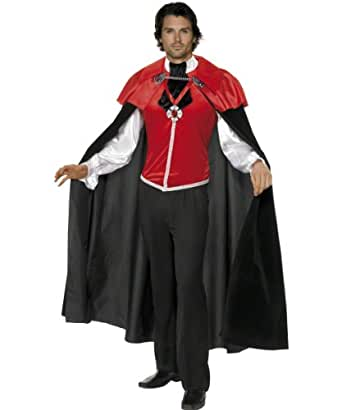 Smiffy's Men's Gothic Manor Vampire Costume Male Shirt with Attached Cravat and Cape, Red/Black, Medium