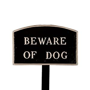 Montague Metal Products SP-4sm-BS-LS Small Black and Silver Beware of Dog Arch Statement Plaque with 23-Inch Lawn Stake
