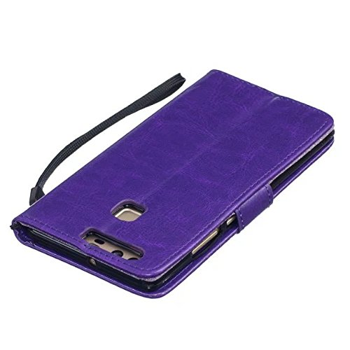 SRY-Conjuntos de teléfonos móviles de Huawei Caja de Huawei P9, con cordón, ranura para tarjeta en relieve Shell plano del teléfono para Huawei P9 Proteja completamente el teléfono ( Color : Purple ,  Purple