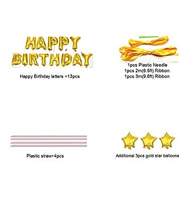 Happy Birthday Balloons,Aluminum Foil Banner Balloons for Birthday Party Decorations and Supplies -Gold from iPartycool