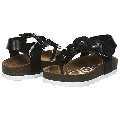 bebe Girls Toddler/Little Kid Velcro Strap Cork Footbed Casual Beach Thong Sandals Size 9 Black/Silver Polyurethane Footbed