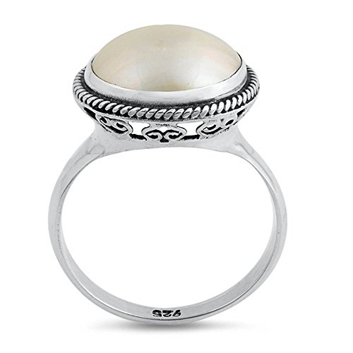 (Oxford Diamond Co Sterling Silver Round Simulated Mabe Pearl Ring Sizes 6)