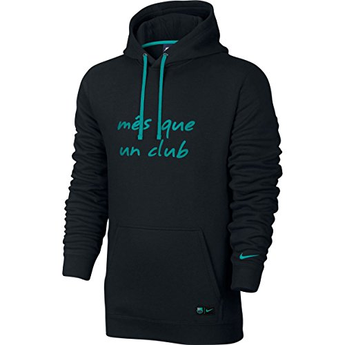 Nike Men's Barcelona NSW Hoodie PO CRE Soccer Hooded Sweatshirt (Medium) Black, Energy (Nike Football Sweatshirt)