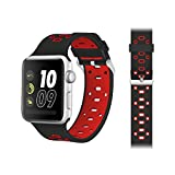 JUNCHI 42mm Apple Watch Band, Soft Silicone Sport Band, Wrist Strap, Silicone Replacement Band with Stainless Metal Clasp for iWatch Series 3, Series 2, Series 1, Sport Nike+ and Edition (Black+Red)